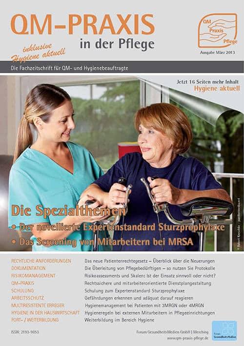 Ausgabe Mär/Apr 2013<br>Expertenstandard Sturzprophylaxe<br>Mitarbeiterscreening MRSA